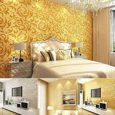 Luxury Wall Paper Wallpaper Roll Damask Victorian Embossed Textured Sticker QK