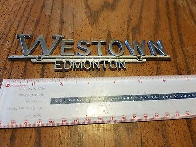 Vintage Westown Edmonton Alberta Canada Dealership Chrome Metal Trunk Emblem NOS