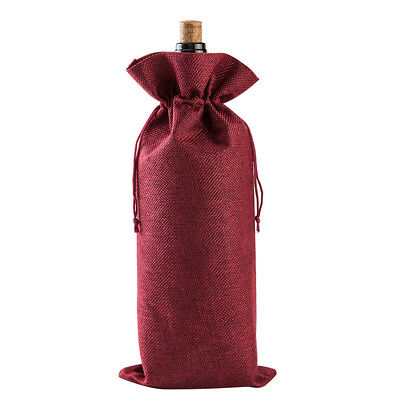 Red Wine Bottle Cover Bag Drawstring Burlap Bag Packaging Table Ornaments Hot