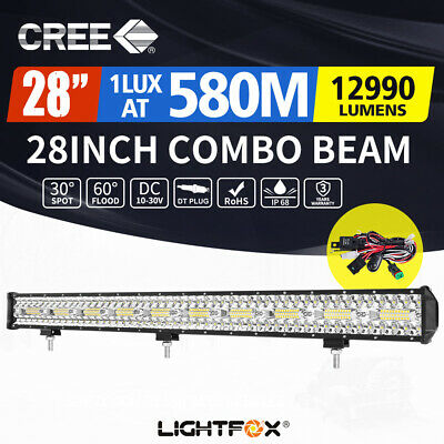 31inch CREE LED Light Bar Spot Beam Triple Row Work Driving Lamp 4WD 30""
