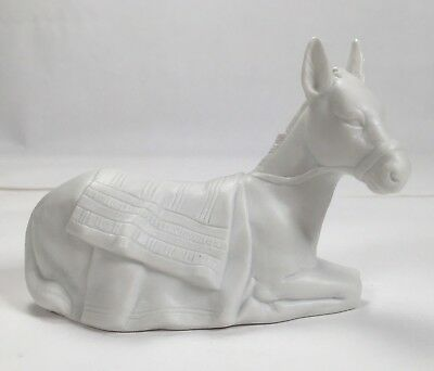 """Avon Nativity Collectibles """"The Donkey"""" White Porcelain Bisque Figurine 1984"""