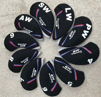 10PCS Black M3 Qualität Neoprene Taylormade Golf Club Iron Covers HeadCovers
