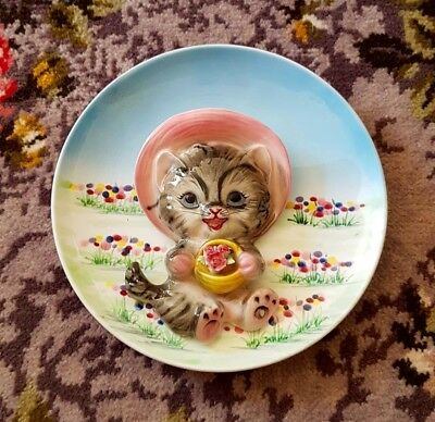 Vintage kitsch cat kitty wall plate