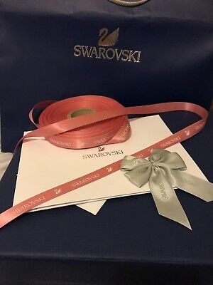 Swarovski Gift Wrap Card Set Blue Iconic Swan  Pink Ribbon Silver Bow Crystal