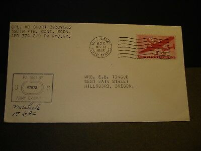 APO 374 MIRECOURT FRANCE 1945 WWII Army Cover 328 FIGHTER CONT APO 570 w/ letter