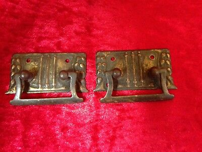 Pair of Small Old Vintage / Antique Reclaimed Brass Handles