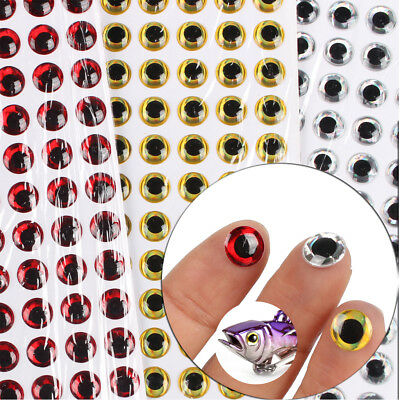 100pcs Fishing Lure Eyes 3D Holographic Eye Fly Tying Jigs Crafts, 3 Colors