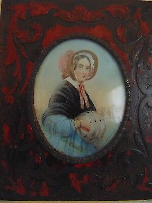 Antique Miniature Painting On Porcelain Signed by Krichaher 1800-1876