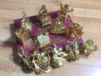Danbury Mint -Gold Christmas Ornament Collection Set Of 12 In A Box.