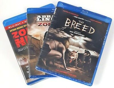Lot of 3 Blu-ray Horror Movies - Lincoln vs. Zombies, Zombie Night, Breed - New
