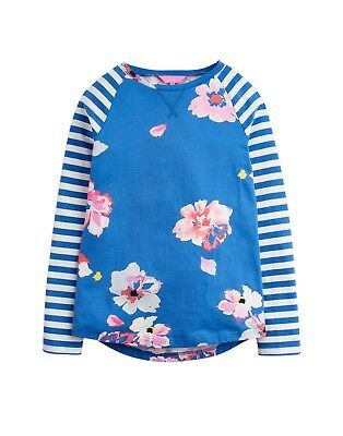 Joules SS19 Junior Mish Mash Jersey Hotch Potch Top in Mid Blue Floral, age 3