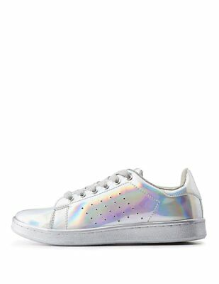 NEW Charlotte Russe Women's Qupid Hologram Lace-Up Sneakers Size 7