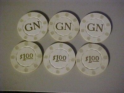 6 - $1.00 GOLDEN NUGGET Casino Chips ATLANTIC CITY or LAS VEGAS ? FREE SHIPPING