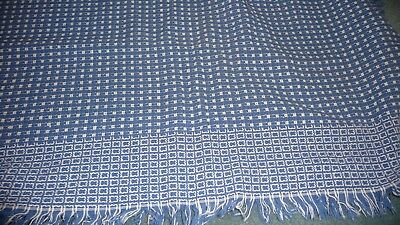 "1224 vtg tablecloth   BLUE & WHITE  WOVEN 60"" x 46""  with 1'' fringe reversable"
