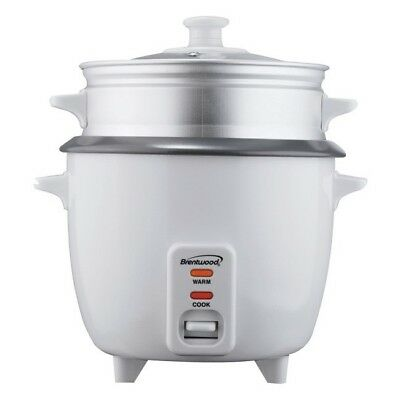 Brentwood 5 Cup Rice Cooker with Steamer in White TS-600S (ts600s)