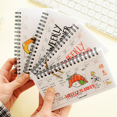 Useful Cartoon Weekly Plan Schedule Spiral Coil Notebook Sketchbook 16.1*9.7cm