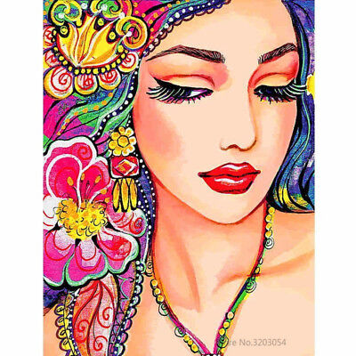 "Colorful Beautiful Girl 16X20"" Paint By Number Kit DIY Acrylic Painting Canvas"