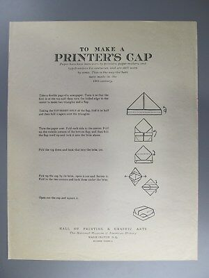 To Make a Printer's Cap, Broadside from Hall of Printing, Smithsonian