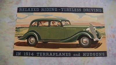 1934 Dealer Hudson Terraplanes Relaxed Riding Tireless Driving Small Brochure