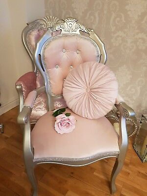 French Louis Style Arm Chair in blush velvet