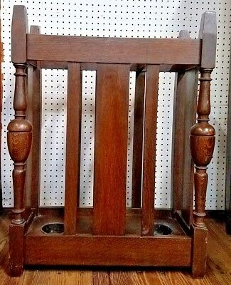 Antique Stickley Quaint Mission Arts & Crafts Oak Umbrella Stand w/3 Metal Tray