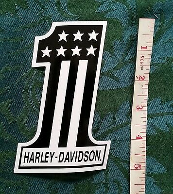 Harley Davidson Motorcycle #1 Sticker. Black And White. Stars And Stripes