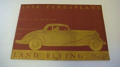 1934 Original Hudson Terraplane Land Flying Color Dealer Sales Brochure
