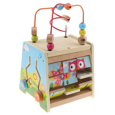 Wooden Cube Developmental Baby Toy 5in1 Puzzles animal race beads gear mazes