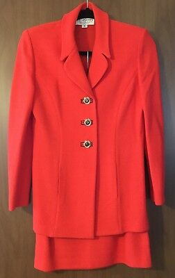 St John Knit Collection by Marie Gray Vintage Sz 2 Red Jacket & Sz 4 Skirt