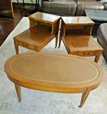 Pair Antique Stair Step  Tier End Tables and COFFE TABLE w/ Leather Inserts