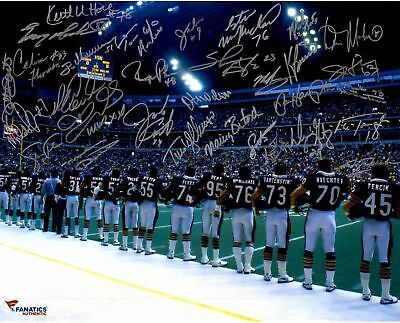 1985 Chicago Bears Team Signed Autographed 8x10 Photo (RP)
