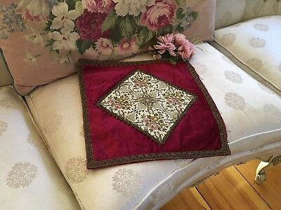 Antique French Velvet Pillow Case Cover Metalwork Floral Tapestry N25