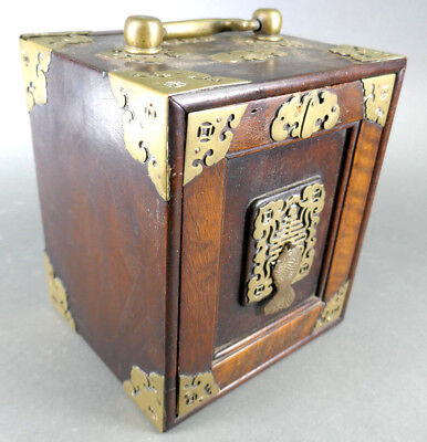 Fine Old Chinese Wood & Brass Jewelry Box Carving Sculpture Art