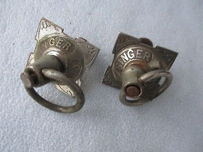Pair Antique Singer Sewing Machine Co. Nickel Over Brass Drawer Pulls + Nuts