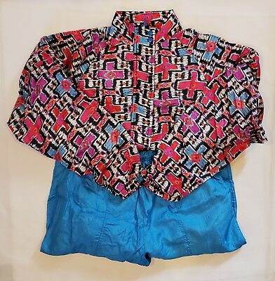 Vintage 90's Aviat Windbreaker And Pants Jogging Track Suit Set Size Large Blue
