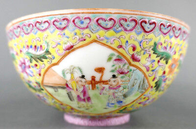 Fine Old Chinese Porcelain Famille Rose Bowl Signed Scholar Work Of Art