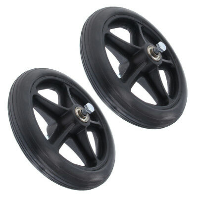 2x Professional Wheelchair Front Castor Wheels Replacement Part Black 7""