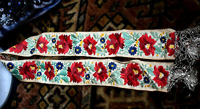 Antique Traditional Hungarian  Silk embroidered Ribbon 74x5cm