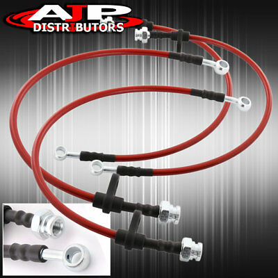 Front + Rear Red Stainless Steel Oil Brake Line Cable Black 96-2000 Honda Civic