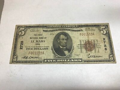 Le  Mars Iowa: The First National Bank $5 1929 Fine