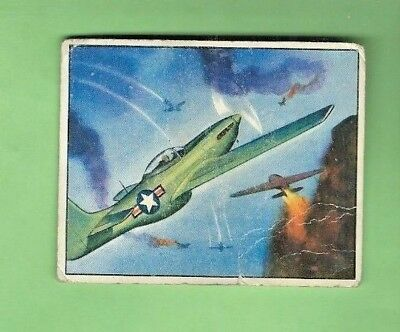1951 Bowman FIGHT THE RED MENACE #4 MUSTANGS ROUT RED PLANES POOR