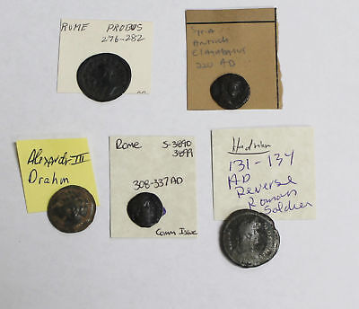 Collector Lot of 5 Ancient Roman Coins - Good Mix of All Different Types