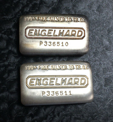 Engelhard Poured 10 Troy oz .999 Fine Silver Bars - Matching Consecutive Pair