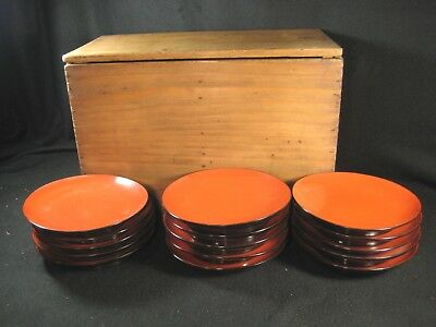 Antique Japanese Set Of 5 Hand Signed  Red Lacquer Kashizara Plate