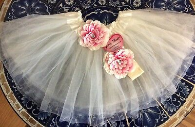 NWT Cream & Pink Flower Tutu Skirt 3T w/Matching Floral Barrette Tulle Age 3-8