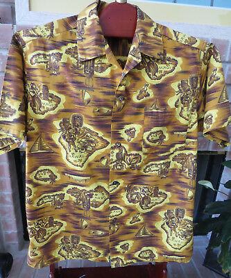 Vintage 1950s Mens Hawaiian Aloha Shirt Made in Hawaii Size L Retro Tiki
