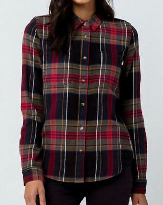 fdfca2e42a Vans MERIDIAN III Womens Button Front Flannel Shirt Small Chili Pepper NEW  2018