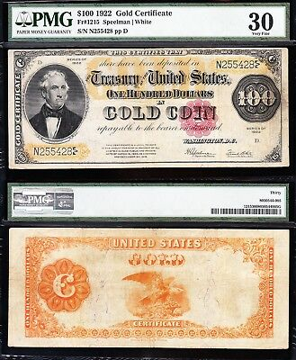 """Awesome *RARE* Choice VF+ 1922 $100 """"BENTON"""" GOLD CERTIFICATE! PMG 30! N255428"""