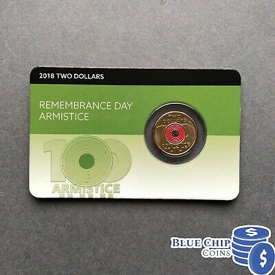 2018 Unc $2 Remembrance Day Red Poppy Armistice Coin On Card