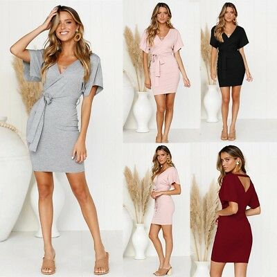 Women's Bodycon V-Neck Belted Wrap Mini Dress Holiday Short Sleeve Beach Dress